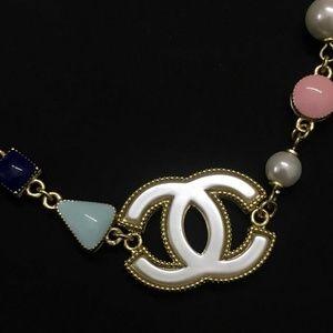 CHANEL Jewelry - Chanel Glass Pearl Gold Tone Bracelet